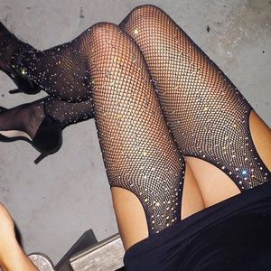 NEW Crotchless Rhinestone Fishnet Garter Tights